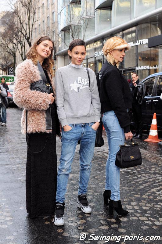 Andreea Diaconu, Binx Walton and Jessica Hart leaving Sonia Rykiel show, Paris F/W 2014 RtW Fashion Week, February 2014