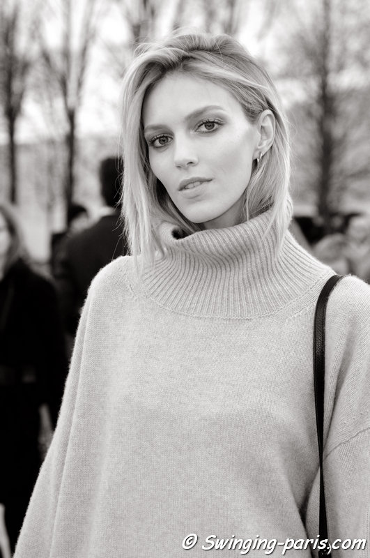 Anja Rubik leaving Nina Ricci show, Paris F/W 2014 RtW Fashion Week, February 2014