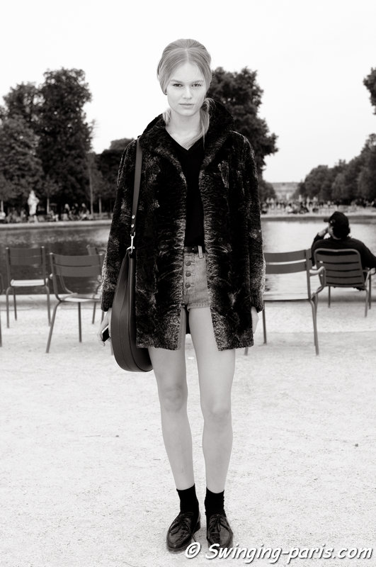 Anna Luisa Ewers leaving Valentino show, Paris S/S 2014 RtW Fashion Week, October 2013