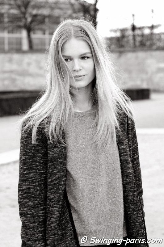 Anna Luisa Ewers leaving Valentino show, Paris F/W 2014 RtW Fashion Week, March 2014
