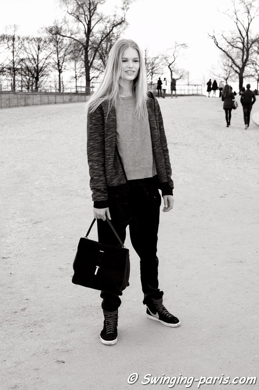 Anna Luisa Ewers leaving Valentino show, Paris F/W 2014 RtW Fashion Week, March 2014