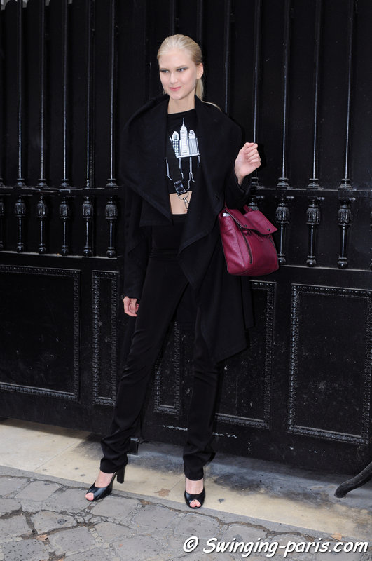 Anna Martynova leaving Elie Saab show, Paris Haute Couture F/W 2014 Fashion Week, July 2014