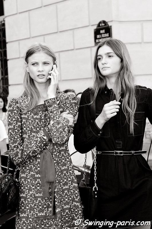 Anna Selezneva (Анна Селезнева) and Ella Kandyba after Isabel Marant show, Paris S/S 2012 Fashion Week, September 2011