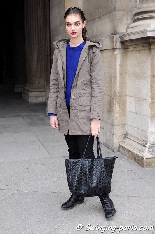 Antonina Tonya Vasylchenko leaving Louis Vuitton show, Paris F/W 2013 RtW Fashion Week, March 2013