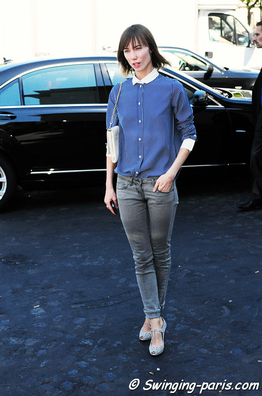 Anya Ziourova ( ) outside Giorgio Armani Priv show, Paris Haute Couture F/W Fashion Week, July 2011