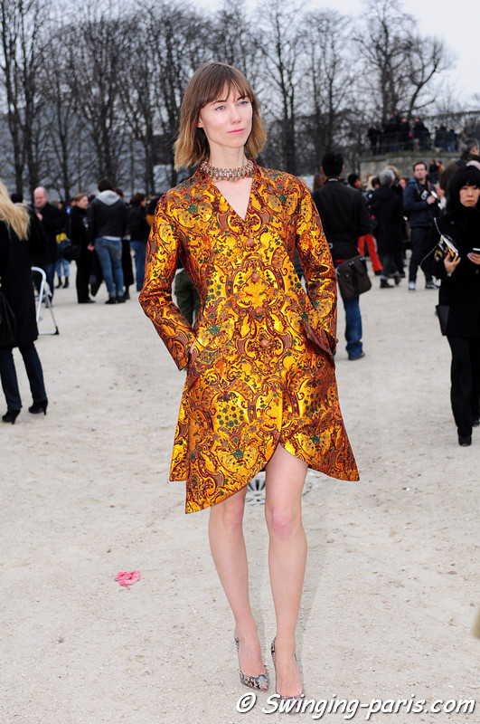 Anya Ziourova ( ) outside Viktor &amp; Rolf show, Paris F/W RtW 2012 Fashion Week, March 2012