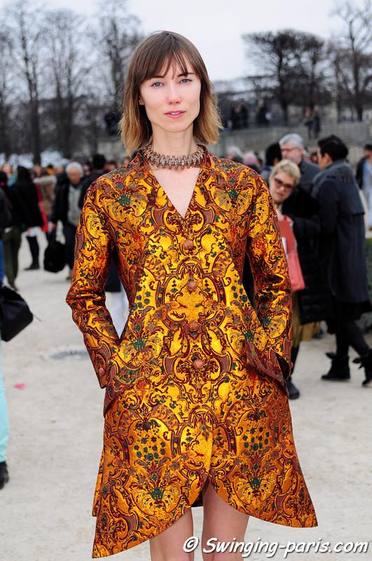 Anya Ziourova (Аня Зиоурова) outside Viktor & Rolf show, Paris F/W RtW 2012 Fashion Week, March 2012