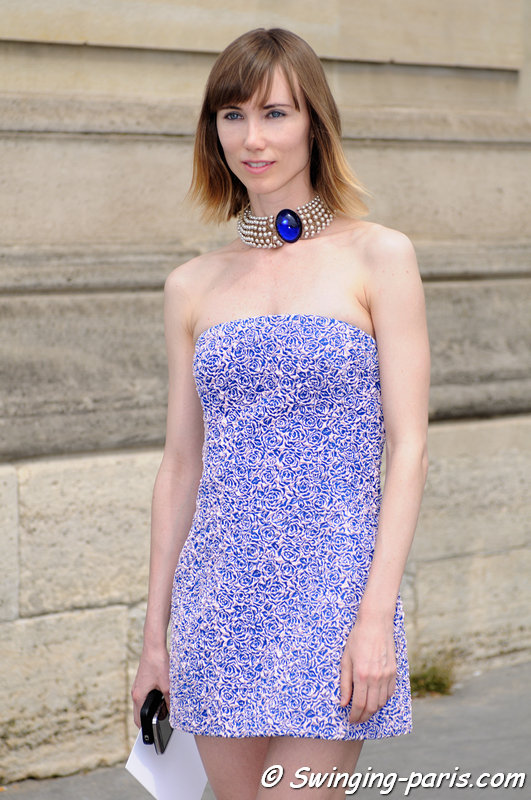Anya Ziourova (Аня Зиоурова) before Christian Dior show, Paris Haute Couture F/W 2013 Fashion Week, July 2013