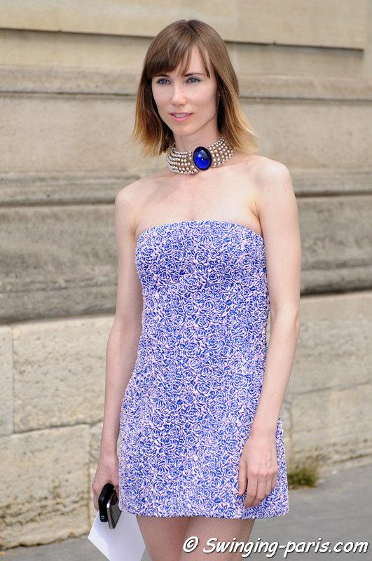 Anya Ziourova (Аня Зиоурова) before Christian Dior show, Paris Haute Couture F/W 2013 Fashion Week, July 2013
