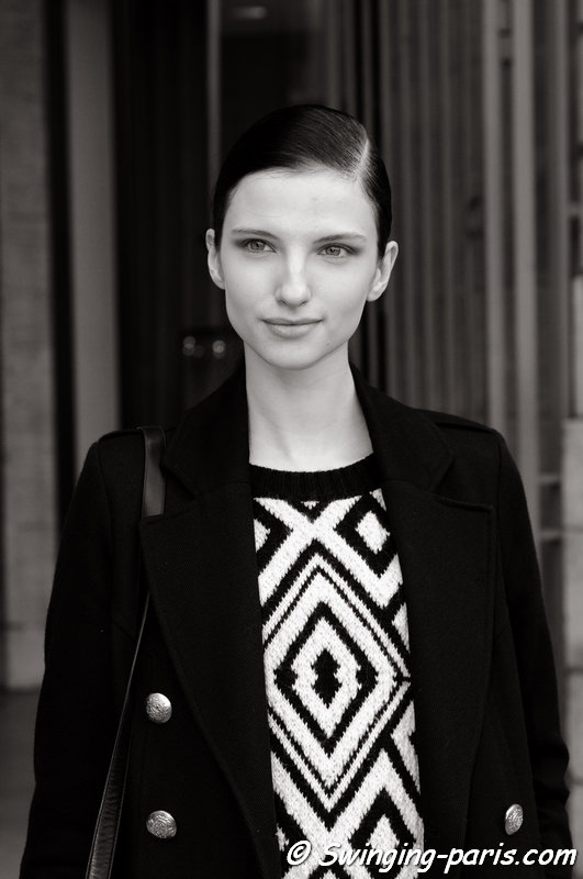 Appoline Rozhdestvenska leaving Jean-Charles de Castelbajac show, Paris F/W 2014 RtW Fashion Week, March 2014