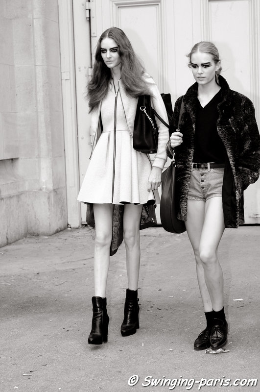 Auguste Abeliunaite, Anna Luisa Ewers leaving Chanel show, Paris S/S 2014 RtW Fashion Week, October 2013