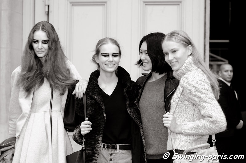 Auguste Abeliunaite, Anna Luisa Ewers, Chiharu Okunugi, and Katya Riabinkina leaving Chanel show, Paris S/S 2014 RtW Fashion Week, October 2013