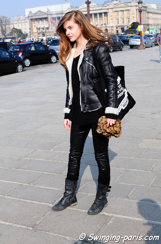 Barbara Palvin after Guy Laroche show, Paris Fashion Week, March 2011