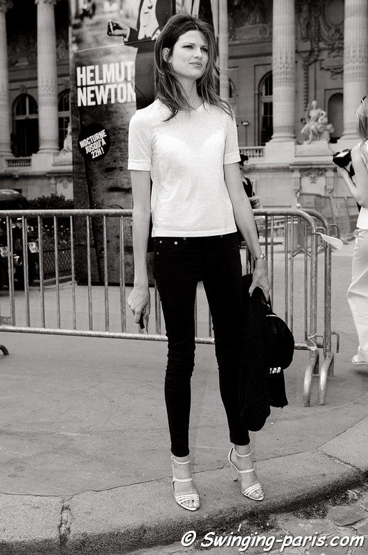 Bette Franke leaving Chanel show, Paris Haute Couture F/W 2012 Fashion Week, July 2012