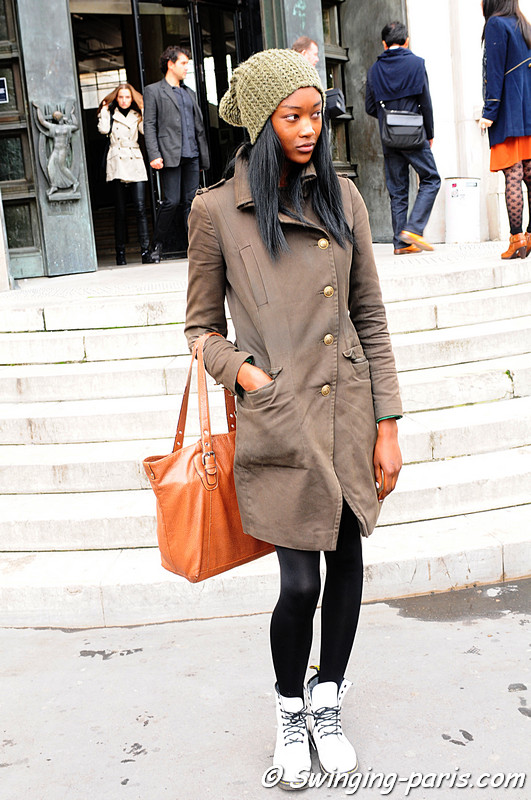Betty Adewole leaving Issey Miyake show, Paris October 2010
