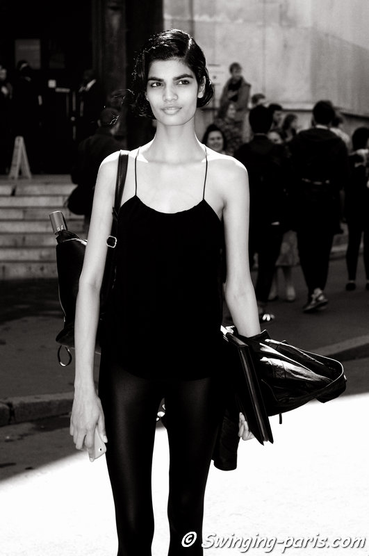 Bhumika Arora leaving Ulyana Sergeenko show, Paris Haute Couture F/W 2014 Fashion Week, July 2014