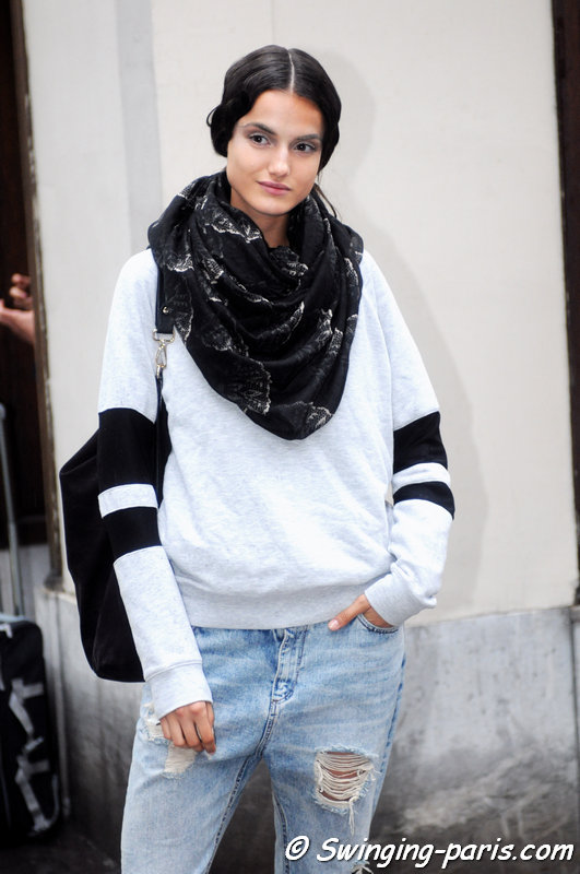 Blanca Padilla leaving Valentino show, Paris Haute Couture F/W 2014 Fashion Week, July 2014