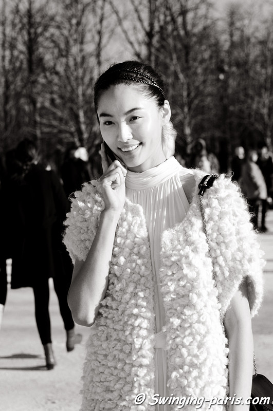 Bonnie Chen (陈碧舸) leaving Chloé show, Paris Fashion Week, March 2011