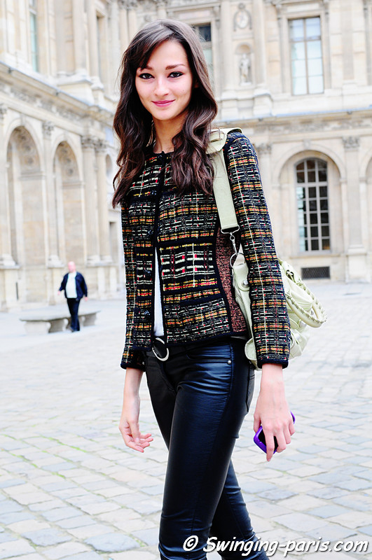 Bruna Tenório after Louis Vuitton show, Paris Fashion Week