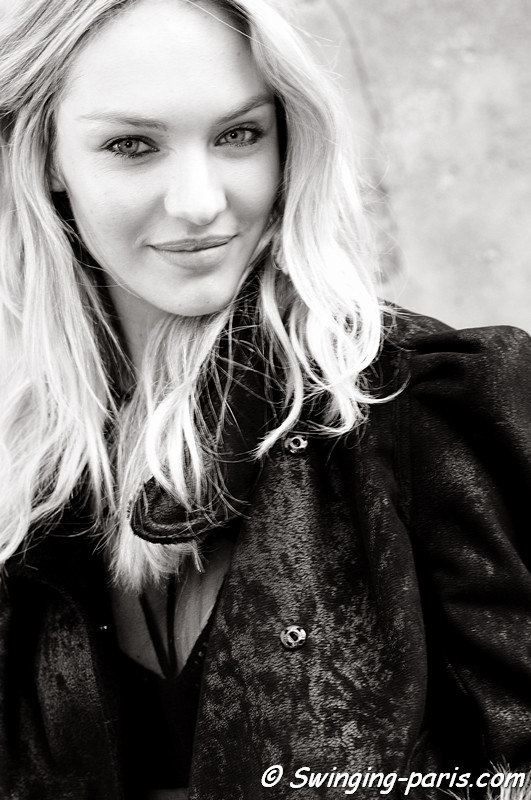 Candice Swanepoel exiting Isabel Marant show, Paris Fashion Week, March 2011