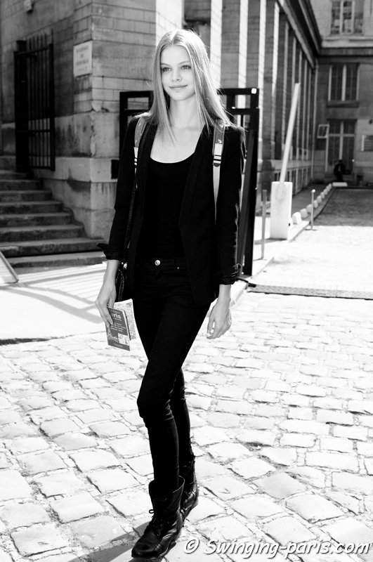 Carolin Loosen exiting Ann Demeulemeester show, Paris S/S 2014 RtW Fashion Week, September 2013