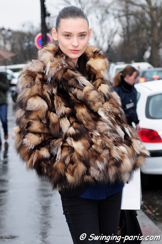 Carolina Thaler leaving Chanel show, Paris F/W RtW 2012 Fashion Week, March 2012