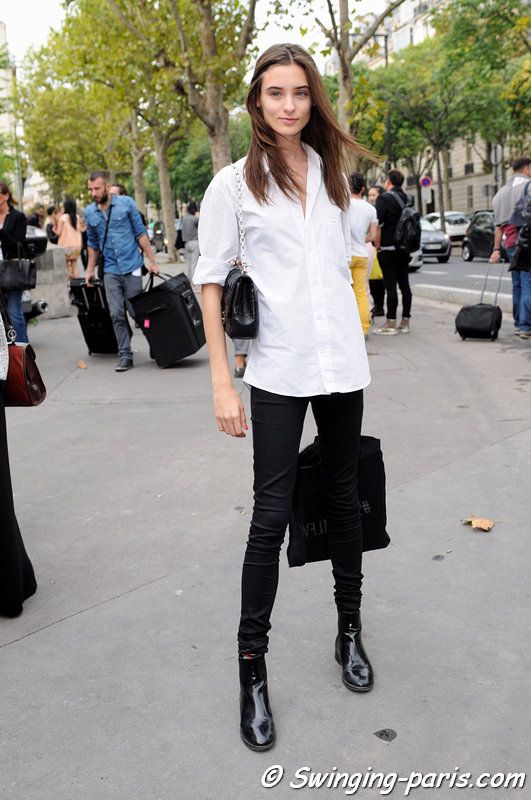 Carolina Thaler outside Manish Arora show, Paris S/S 2014 RtW Fashion Week, September 2013
