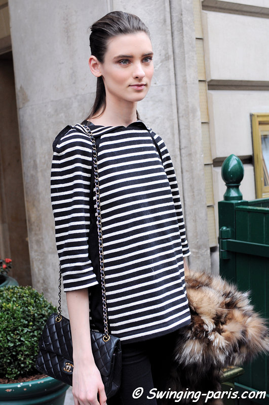 Carolina Thaler leaving Vionnet show, Paris F/W 2013 RtW Fashion Week, March 2013