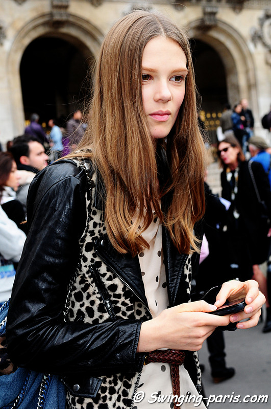 Caroline Brasch Nielsen exiting Stella McCartney show, Paris October 2010