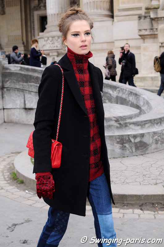 Caroline Brasch Nielsen leaving Chanel show, Paris Haute Couture S/S 2014 Fashion Week, January 2014