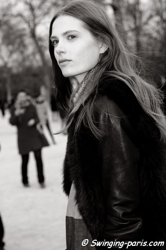 Caroline Brasch Nielsen leaving Chloé show, Paris F/W RtW 2012 Fashion Week, March 2012