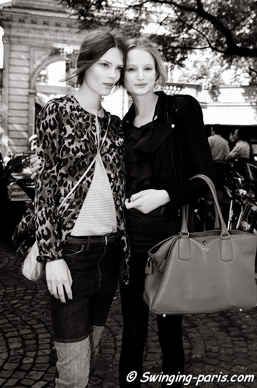 Maud Welzen and Caroline Brasch Nielsen after Valentino show, Paris Haute Couture F/W Fashion Week, July 2011
