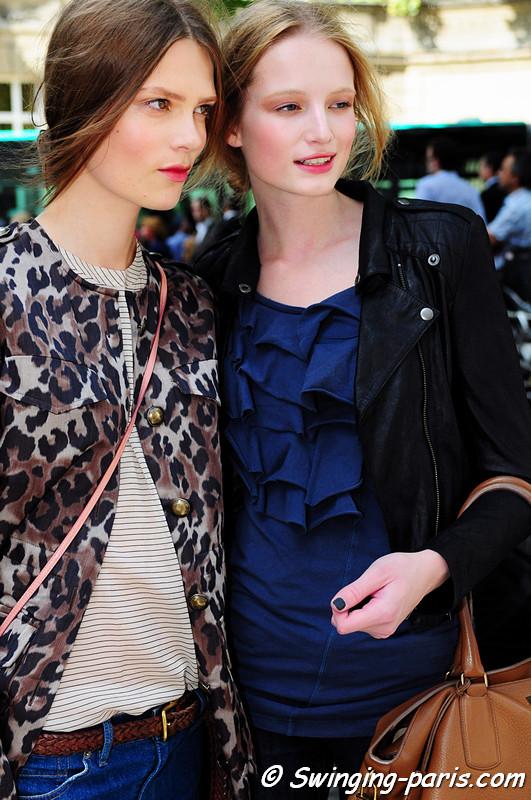 Maud Welzen and Caroline Brasch Nielsen after Valentino show, Paris Haute Couture F/W Fashion Week, July 2011