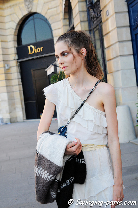 Caroline Brasch Nielsen after a Valentino show, Paris 2010