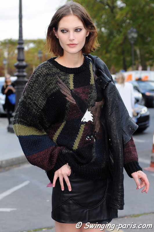 Catherine McNeil after Paco Rabanne show, Paris S/S 2013 RtW Fashion Week, October 2012