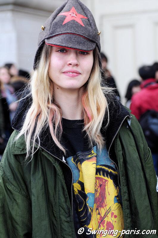 Charlotte Free exiting Chanel show, Paris F/W 2014 RtW Fashion Week, March 2014