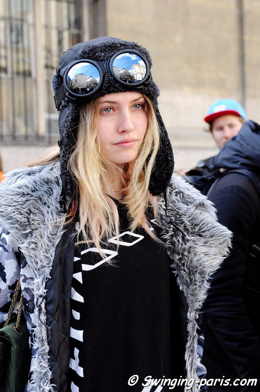 Charlotte Free exiting Moncler Gamme Rouge show, Paris F/W 2014 RtW Fashion Week, March 2014