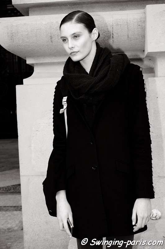 Charlotte Wiggins leaving Léonard show, Paris F/W RtW 2012 Fashion Week, March 2012
