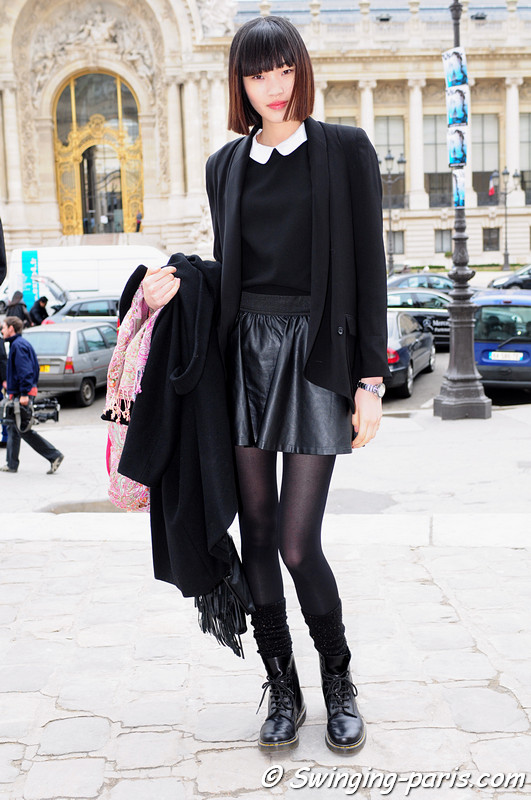 Chiharu Okunugi leaving Allude show, Paris F/W RtW 2012 Fashion Week, March 2012
