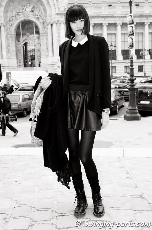 Chiharu Okunugi leaving Allude show, Paris F/W RtW 2012 Fashion Week, March 2012