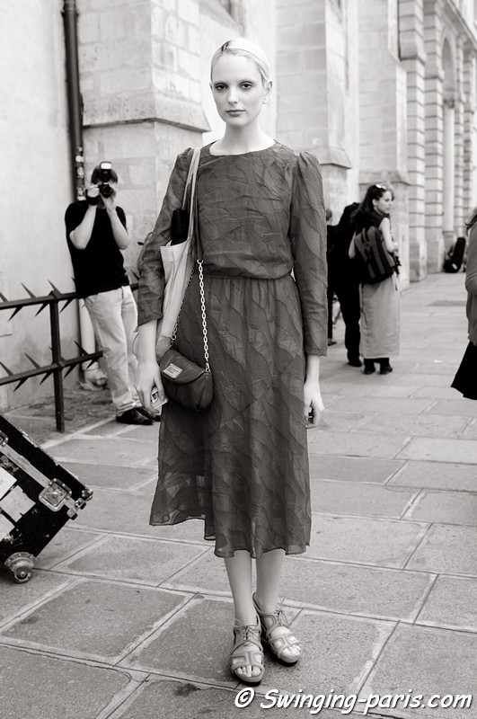 Chrystal Copland outside Christophe Josse show, Paris Haute Couture F/W 2012 Fashion Week, July 2012