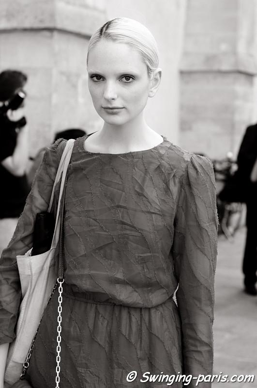 Chrystal Copland outside Christophe Josse show, Paris Haute Couture F/W 2012 Fashion Week, July 2012
