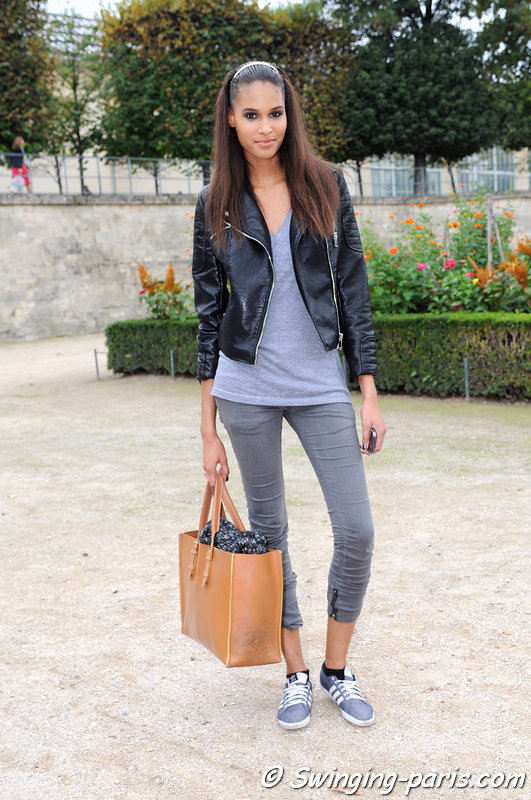 Cindy Bruna leaving Elie Saab show, Paris S/S 2014 RtW Fashion Week, September 2013