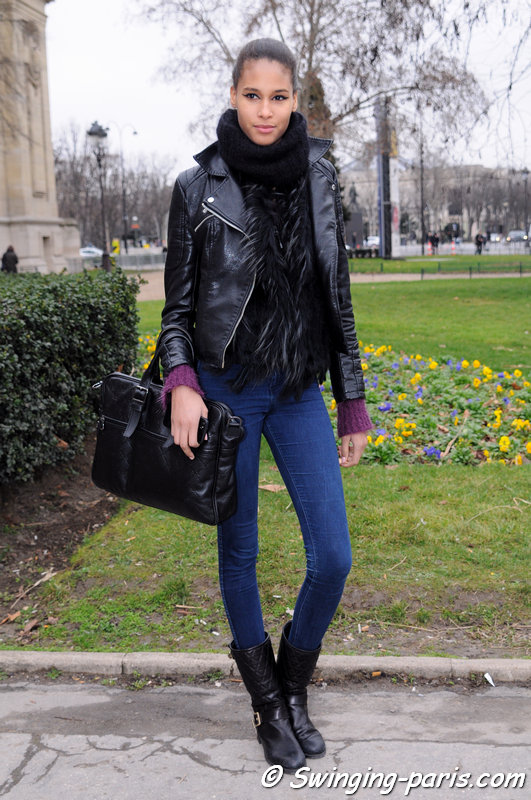 Cindy Bruna leaving Chanel show, Paris Haute Couture S/S 2014 Fashion Week, January 2014