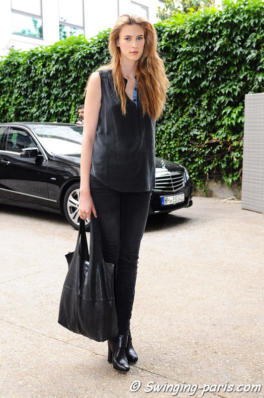 Colinne Michaelis outside Georges Hobeika show, Paris Haute Couture F/W 2012 Fashion Week, July 2012