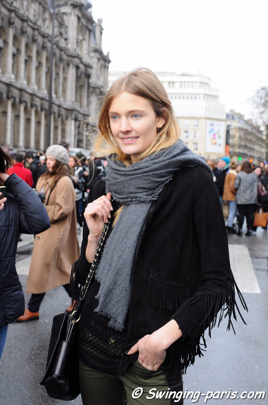 The French model Constance Jablonski outside Balmain show, Paris F/W 2014 RtW Fashion Week, February 2014
