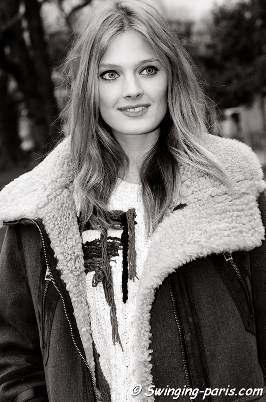 Constance Jablonski outside Paco Rabanne show, Paris F/W RtW 2012 Fashion Week, March 2012