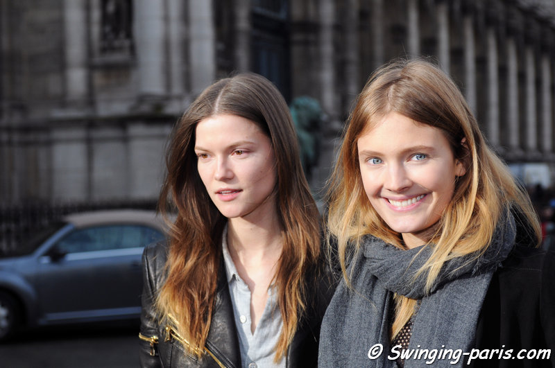 The French model Constance Jablonski and the Polish one Kasia Struss outside Balmain show, Paris F/W 2014 RtW Fashion Week, February 2014