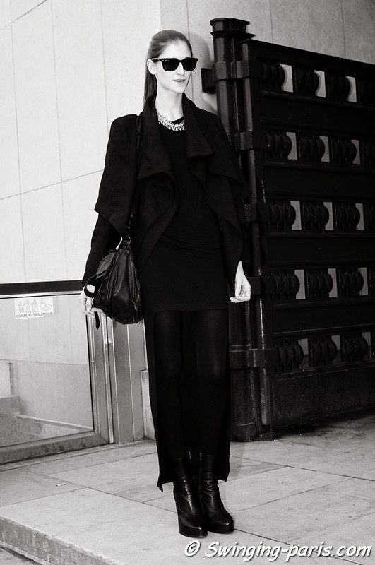 Daiane Conterato exiting Ann Demeulemeester show, Paris F/W RtW 2012 Fashion Week, March 2012