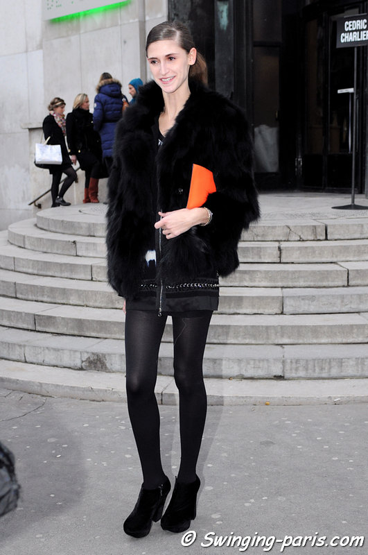 Daiane Conterato leaving Cédric Charlier show, Paris F/W 2013 RtW Fashion Week, February 2013